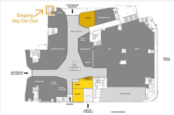 Schema: Eingang des Hep cat Clubs am Gleis 1